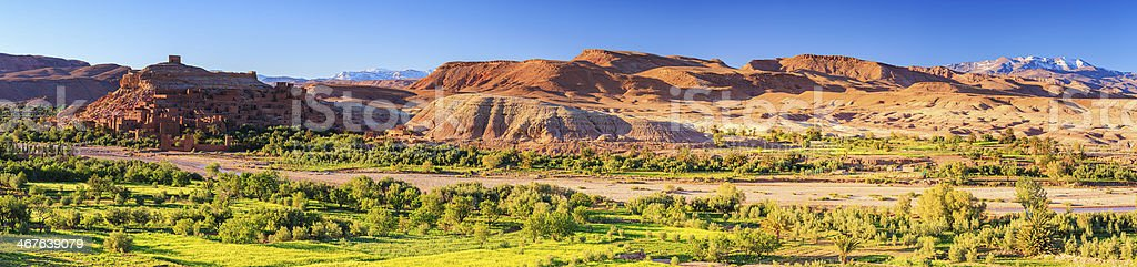 Panoramic view of Aït Benhaddou and High Atlas 90MPIX XXXXL stock photo