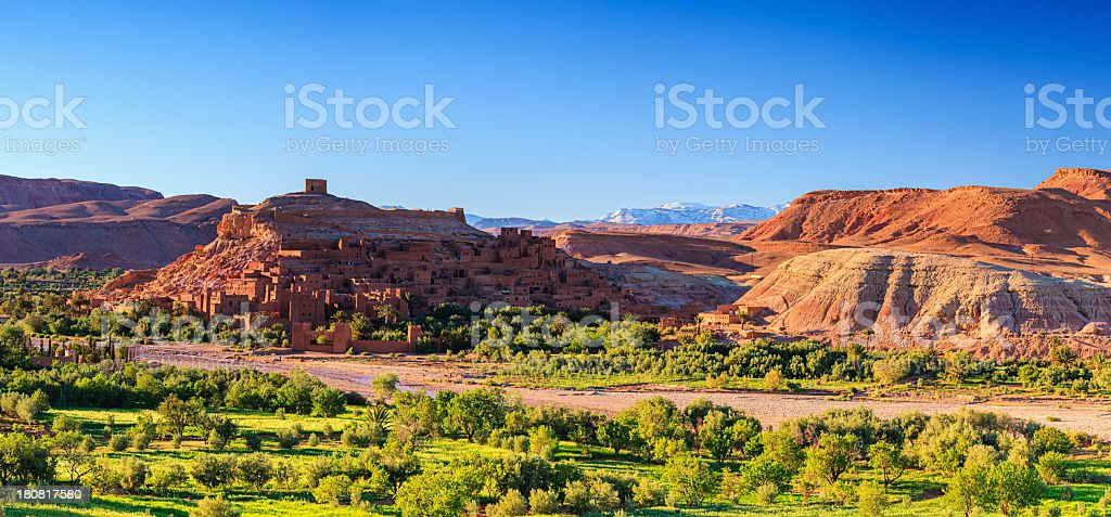 Panoramic view of Aït Benhaddou and High Atlas mouintain range stock photo