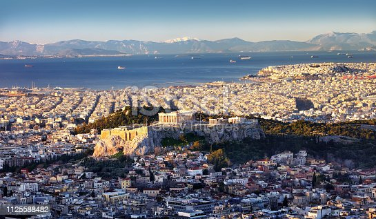 Panoramic view of Athens city from Lycabettus hill at sunrise To Acropolis, Greece