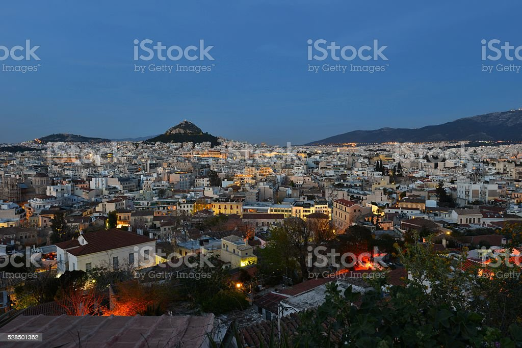 Panoramic view of Athens stock photo
