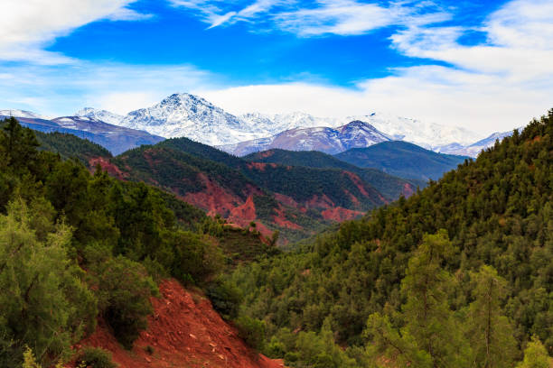 panoramic view of atlas mountains stock photo