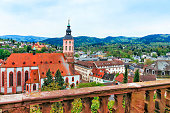 Panoramic view of Baden-Baden church Stiftskirche and city. Baden-Baden is a spa town. It is situated in Baden-Wurttemberg in Germany. Its church is called Stiftskirche.