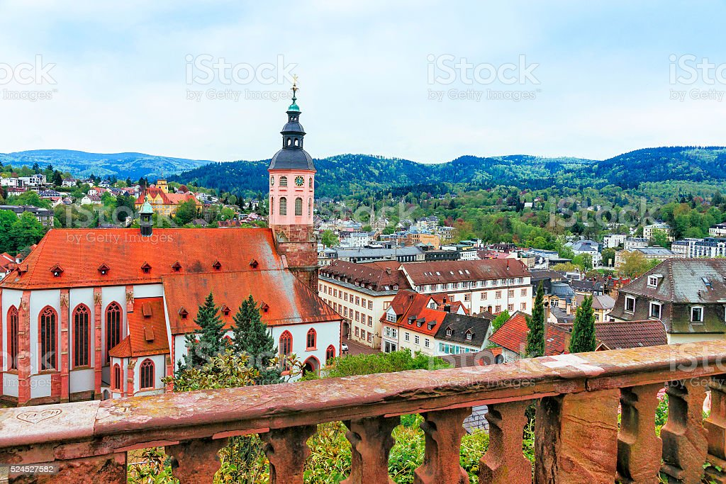 Panoramic view of Baden-Baden church Stiftskirche and city stock photo