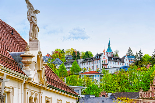 Panoramic view of Baden-Baden city and the angel sculpture