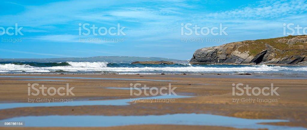 panoramic view of ballybunion beach and cliff stock photo