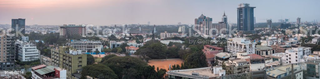 Panoramic View of Bangalore Skyline From Roof Top stock photo
