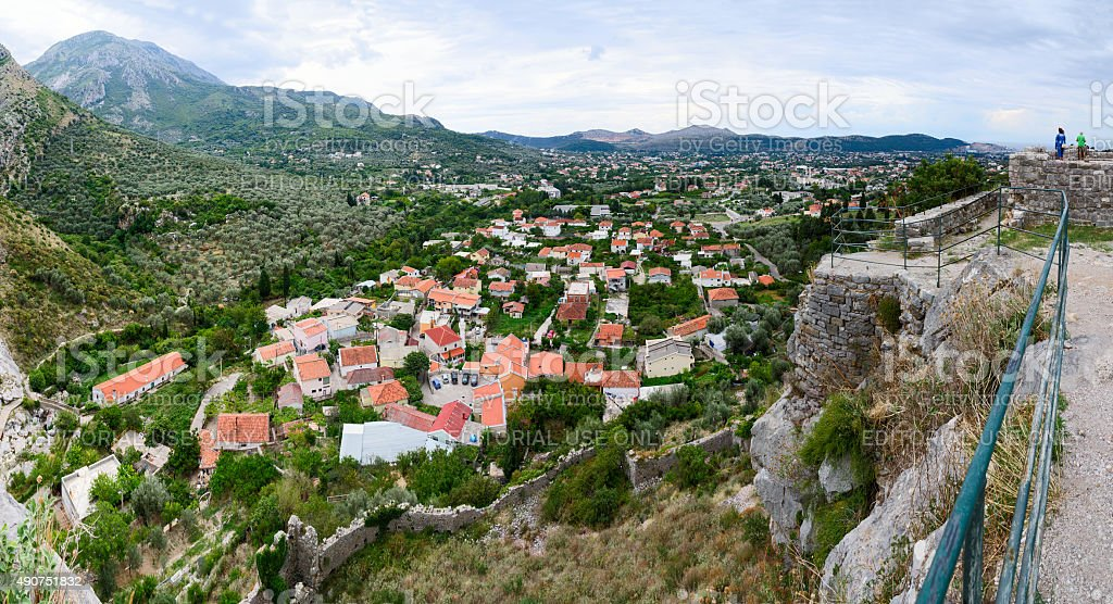Panoramic view of Bar in the foothills, Montenegro stock photo