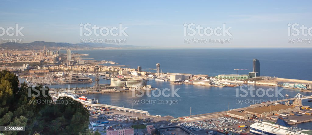 Panoramic view of Barcelona and port stock photo