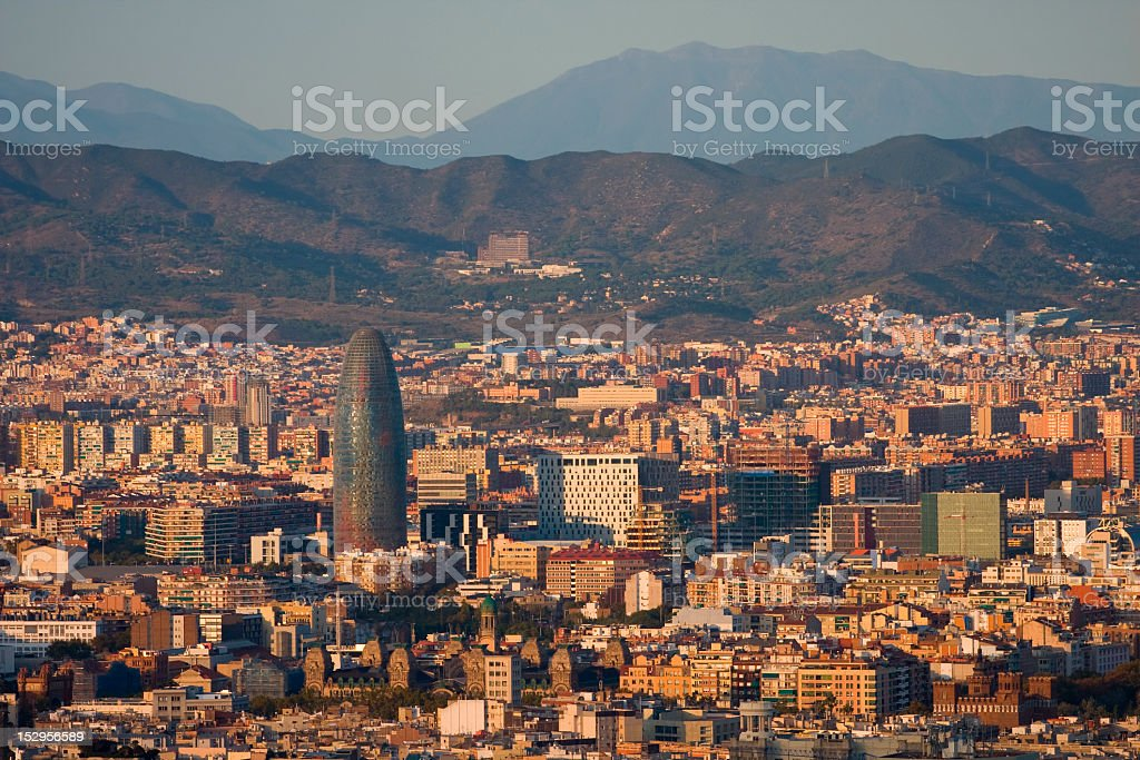 Panoramic view of Barcelona from Parc de Montjuic royalty-free stock photo