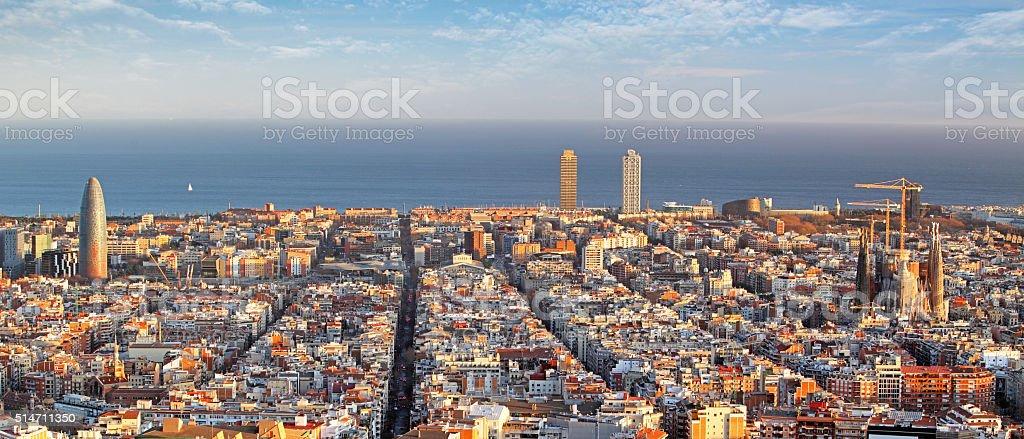 Panoramic view of Barcelona, Spain stock photo