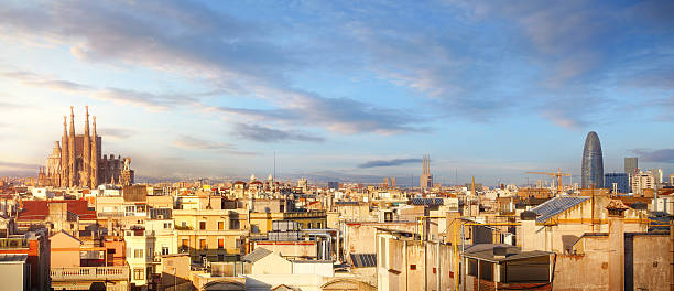 Panoramic view of Barcelona with Sagrada Familia stock photo