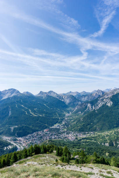 Panoramic view of Bardonecchia village, Italy stock photo