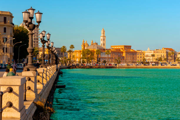 Panoramic view of Bari seafront in the background Basilica San Nicola. Apulia. stock photo