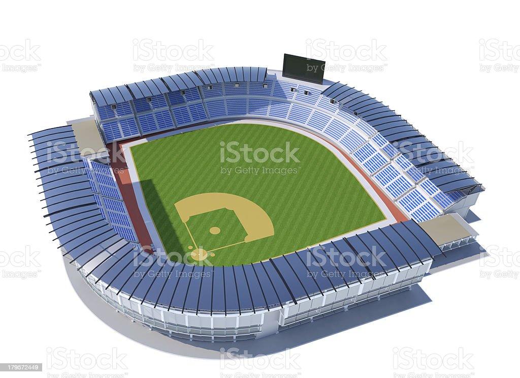 Panoramic view of baseball stadium, isolated on white background stock photo