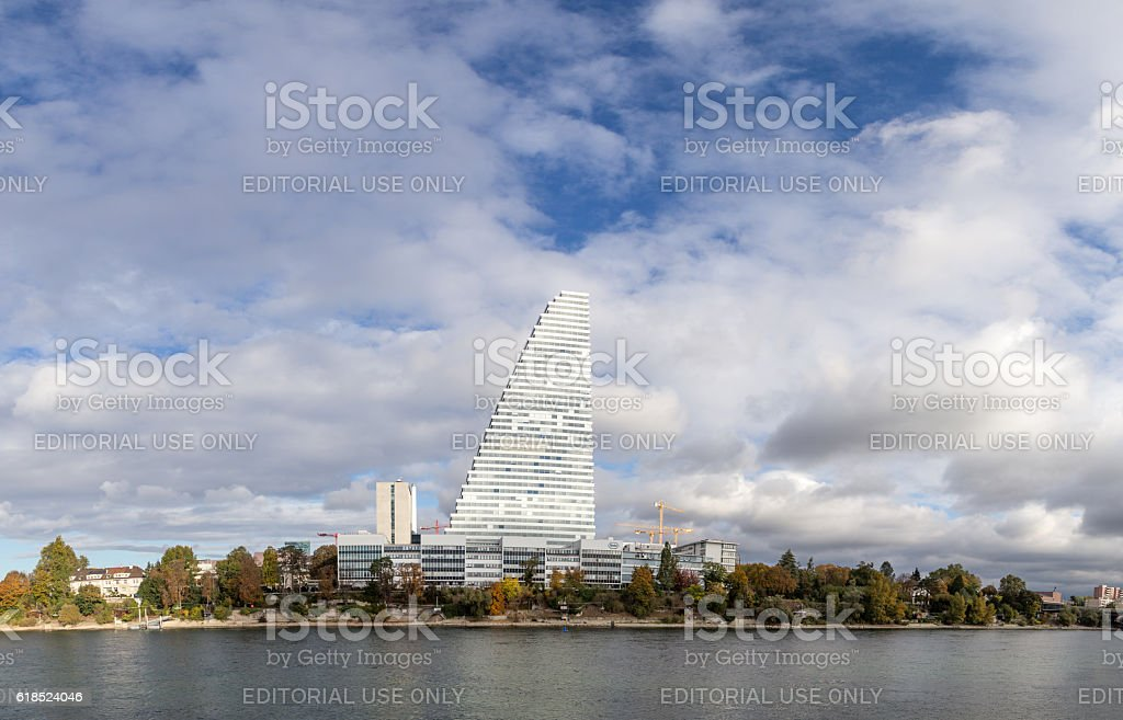 Panoramic view of Basel with Roche Tower – Foto