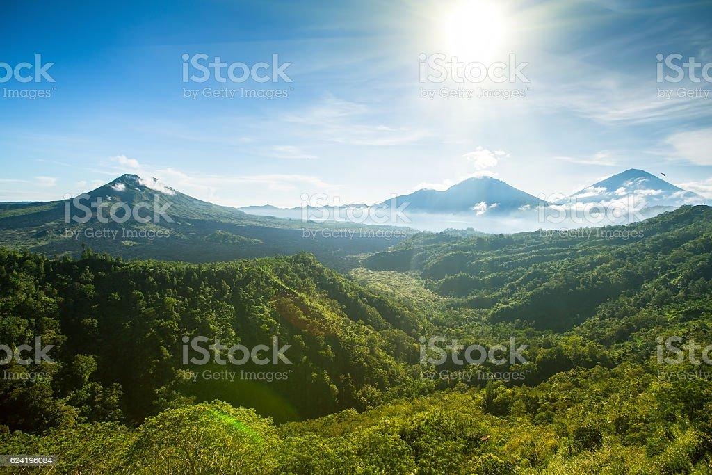 Panoramic view of Batur volcano and Agung mountain, Bali, Indonesia. stock photo