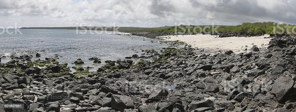 Panoramic view of beach in Punta Suarez stock photo
