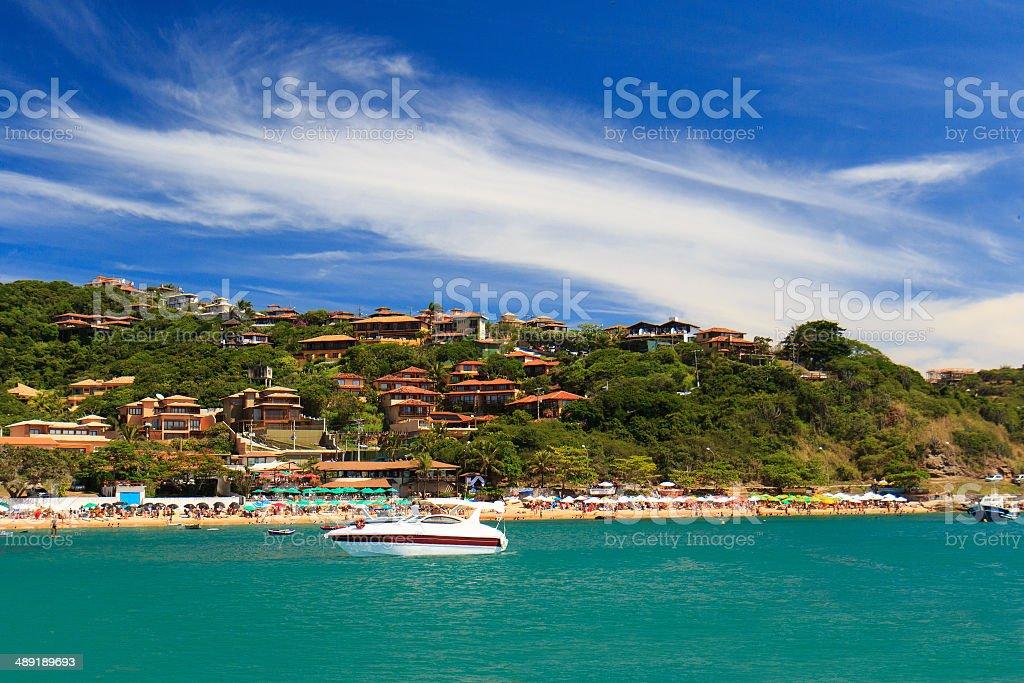 Panoramic view of  beach João Fernando, Búzios, Brazil stock photo