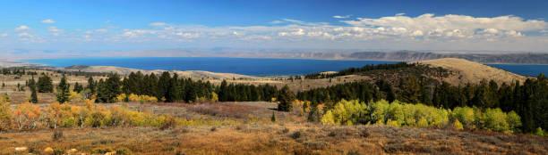 Panoramic view of Bear Lake on the Idaho Utah Border stock photo