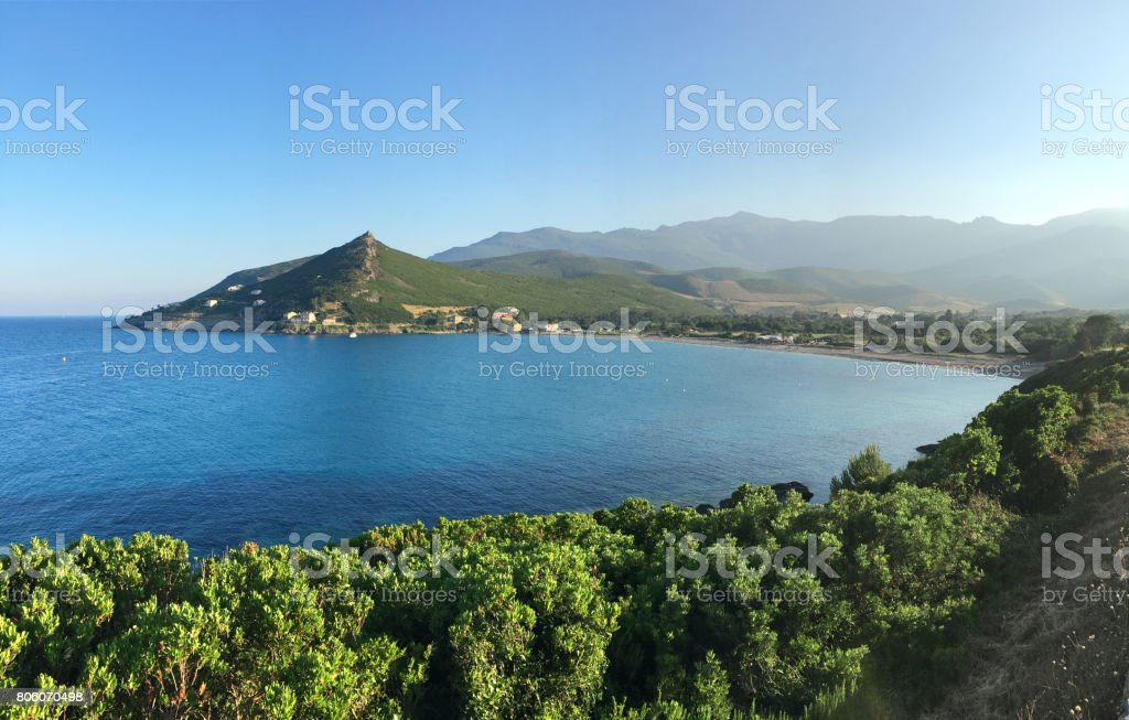 Panoramic view of beautiful bay of Cap Corso. Corsica. stock photo