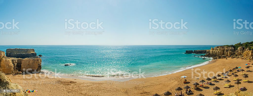 panoramic view of beautiful beach Pria do Castelo in Algarve - Photo