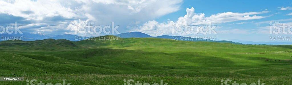 Panoramablick auf der schönen grünen Hügeln am sonnigen Tag, Ushkonyr Plateau, Kasachstan - Lizenzfrei Agrarbetrieb Stock-Foto