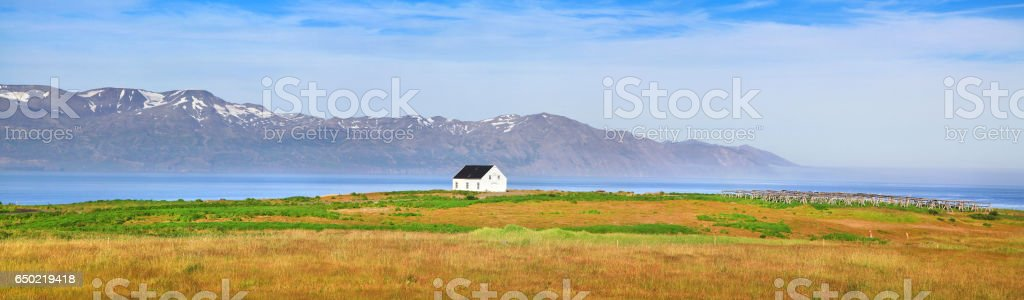Panoramic view of beautiful landscape with old house in Vatnajokull National Park, Iceland stock photo