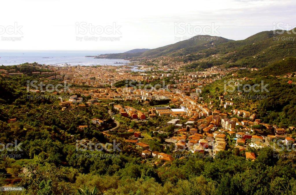 Panoramic view of beautiful town of La Spezia - Liguria - Italy - foto stock