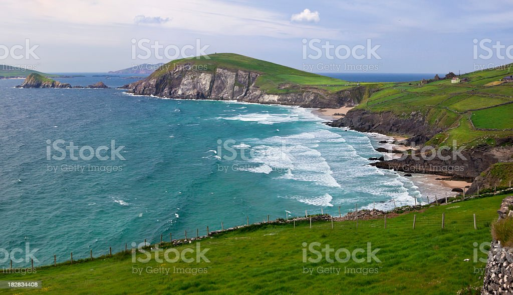 A panoramic view of beautiful vibrant Dingle Peninsula stock photo