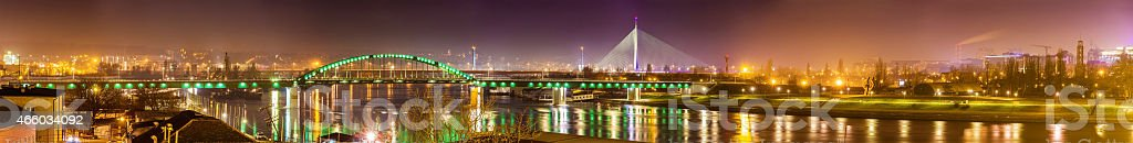 Panoramic view of Belgrade over the Sava river in Serbia stock photo