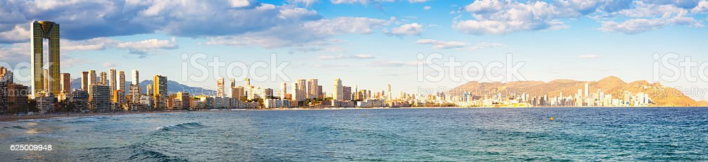 panoramic view of Benidorm seaside stock photo