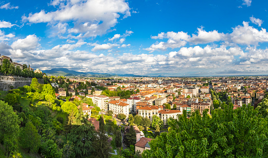 Panoramic view of Bergamo city, Italy