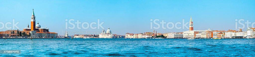 Panoramic view of best landmarks in Venice, Italy stock photo