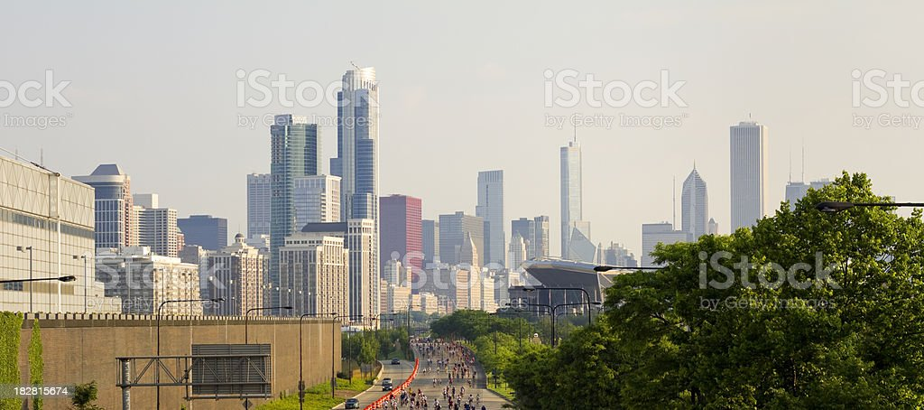Panoramic View of Bicyclists in Chicago stock photo