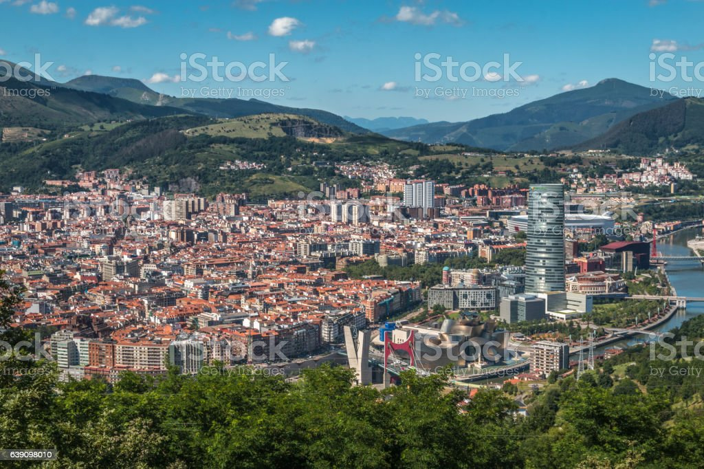 Panoramic view of Bilbao stock photo