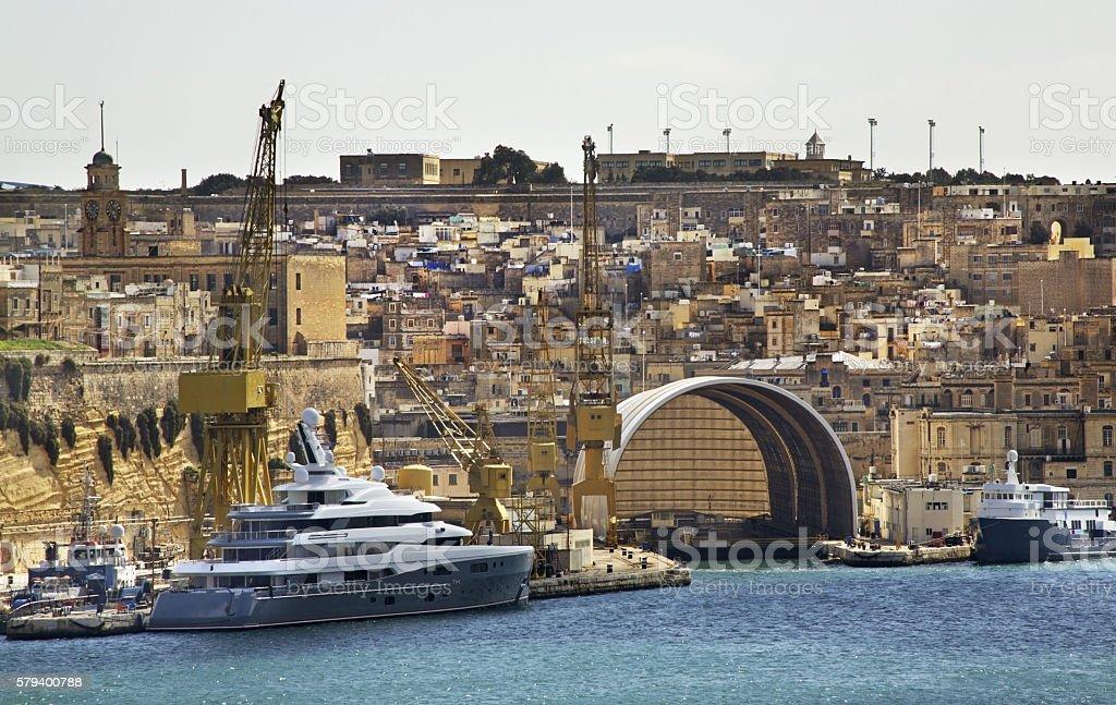 Panoramic view of Birgu. Malta stock photo