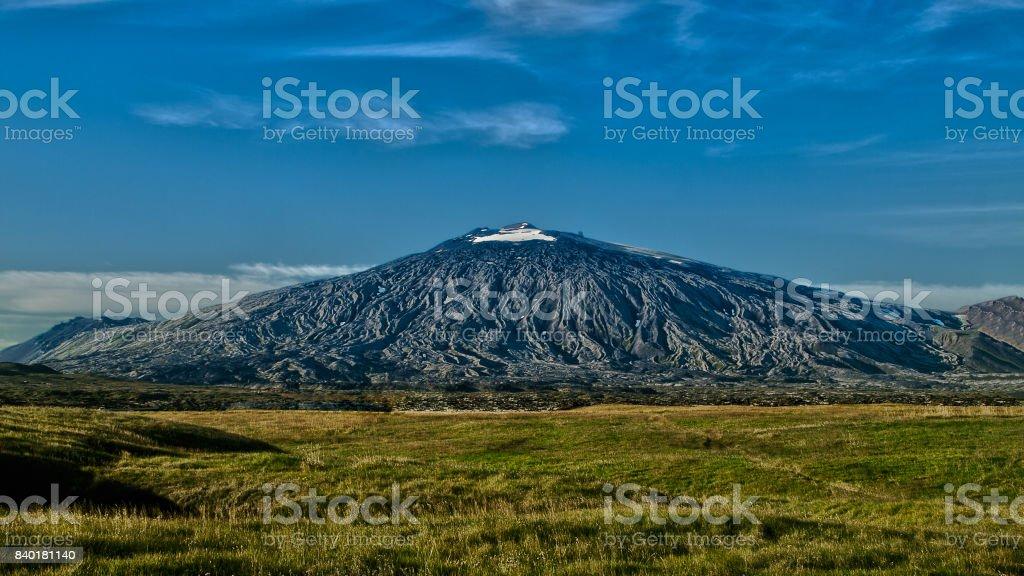 Panoramic view of black volcano Snæfellsjökull. stock photo