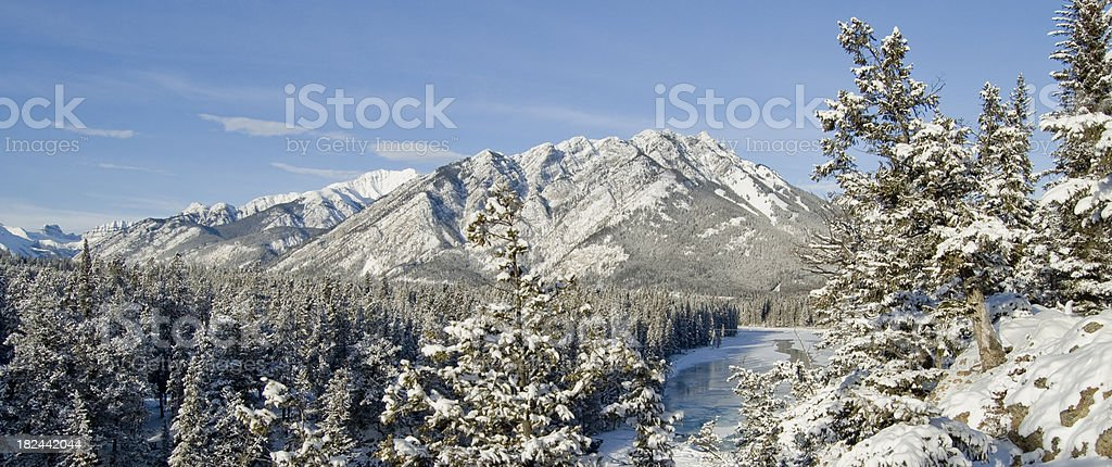 Panoramic view of blue sky, rocky mountains and water royalty-free stock photo