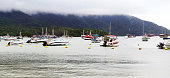 istock Panoramic view of boats anchored 1227365516