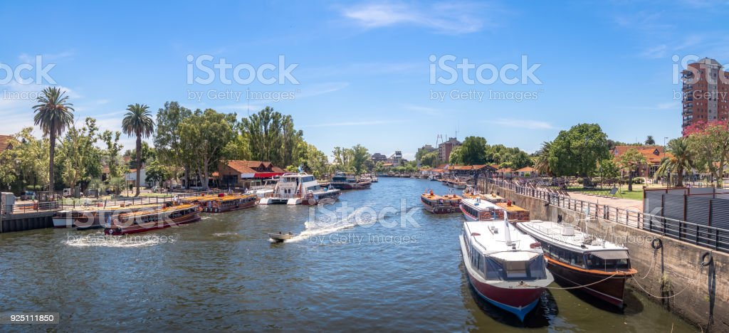 Panoramic view of Boats at Tigre River - Tigre, Buenos Aires, Argentina stock photo