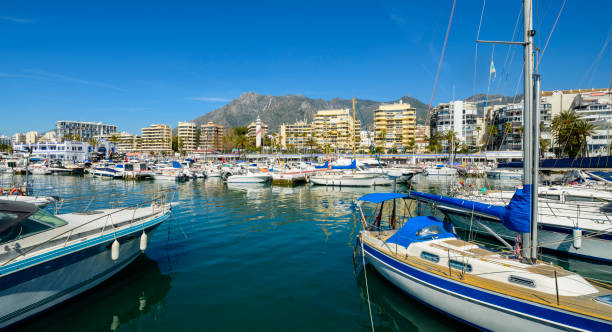 Panoramic View of Boats Moored in Marbella Marina in Andalusia, Spain stock photo