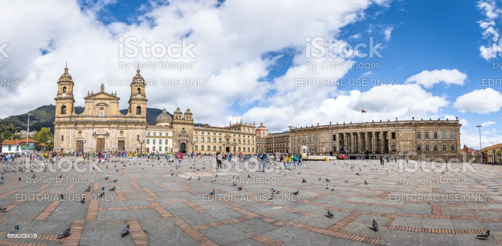 Panoramic view of Bolivar Square with Cathedral and Colombian National Capitol and Congress - Bogota, Colombia stock photo
