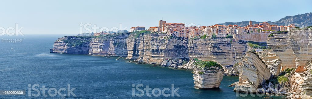Panoramic View of Bonifacio City and Cliffs stock photo