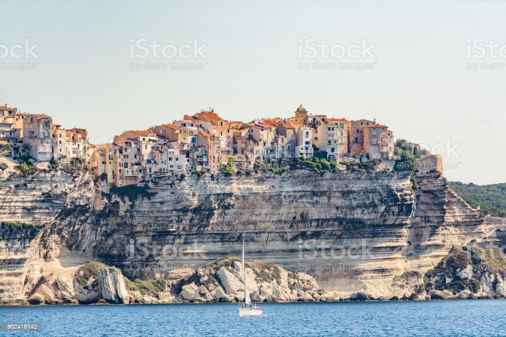 Panoramic view of Bonifacio from the sea, Corsica, France stock photo