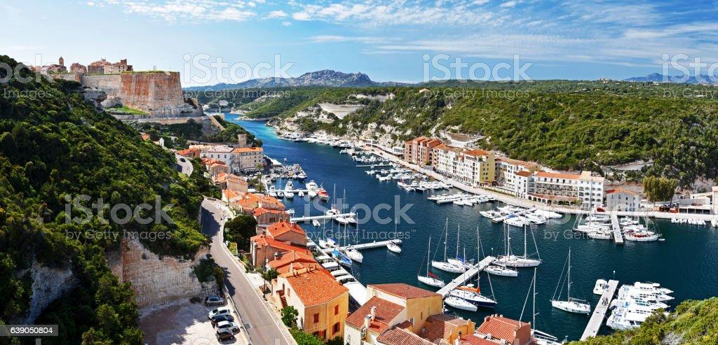 Panoramic view of Bonifacio Harbor and Citadel stock photo