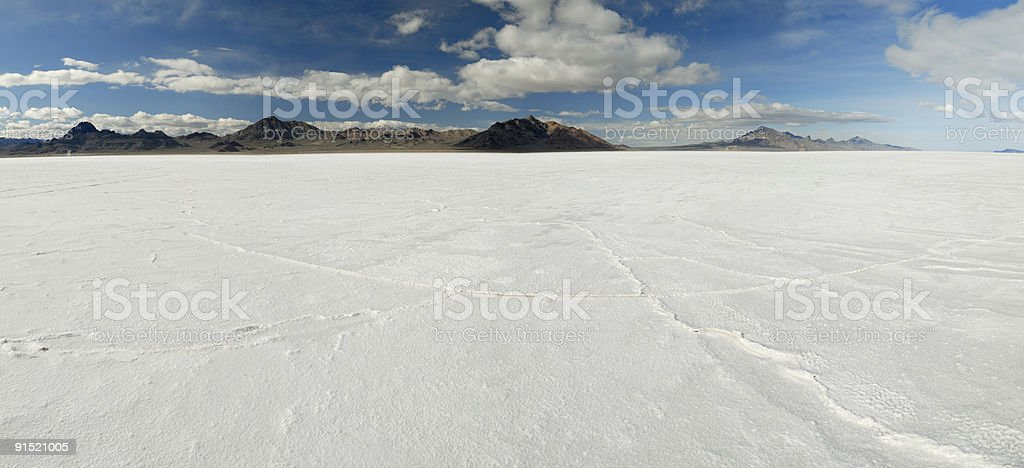 Panoramic view of Bonneville Salt Flats in Utah stock photo