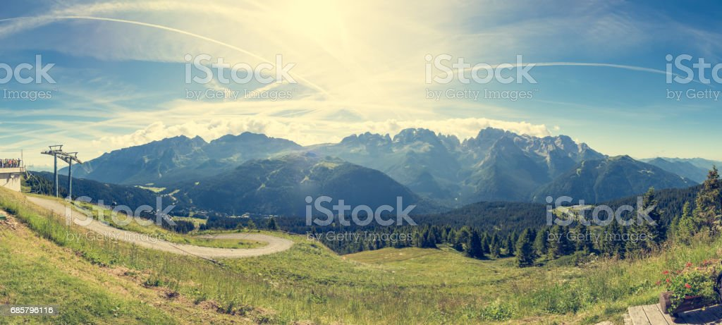 Panoramic view of Brenta group. stock photo