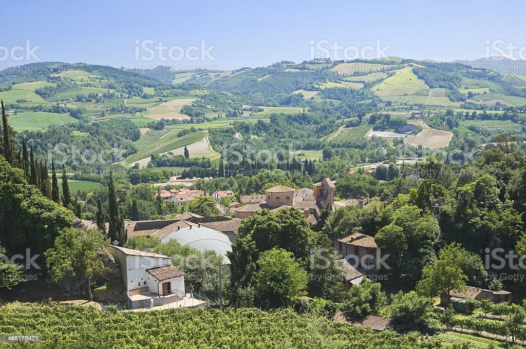 Panoramic view of Brisighella. Emilia-Romagna. Italy. stock photo
