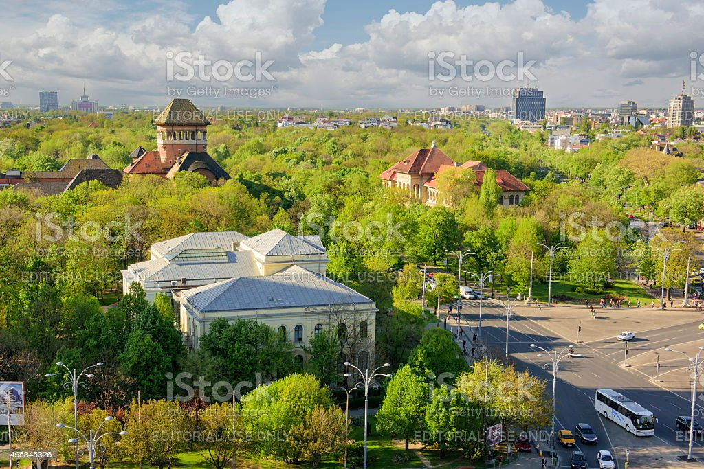 Panoramic view of Bucharest from above. stock photo