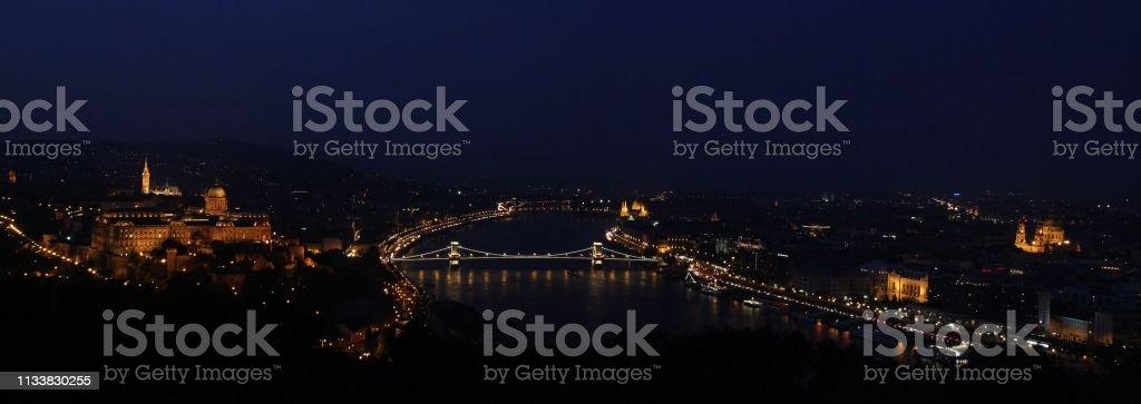 Panoramic view of Budapest at sunset. stock photo